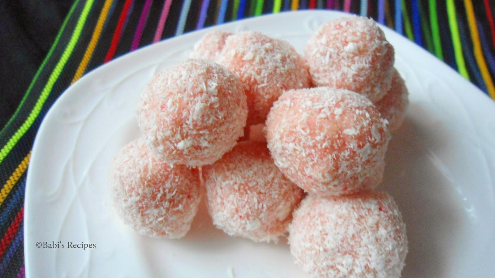 Rose flavored Coconut Balls | Rose Coconut Balls | Easy Sweet Recipe
