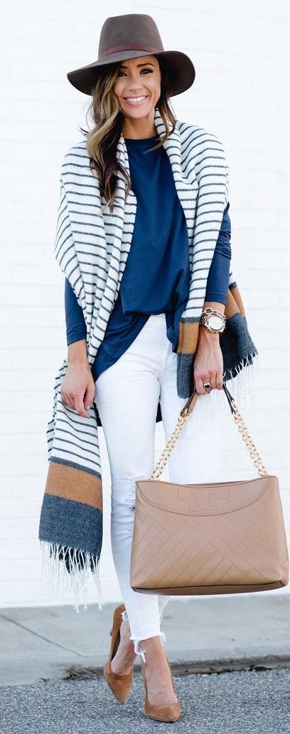 how to style a hat : stripped scarf + bag + rips + heels + blue top