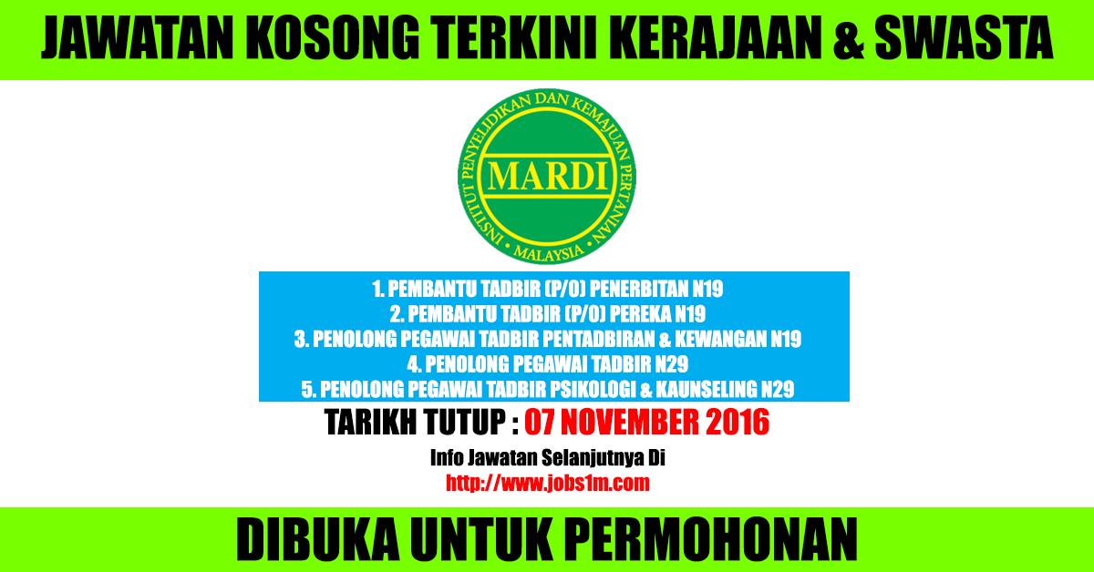Jawatan Kosong Mardi 07 November 2016 1kerjaya