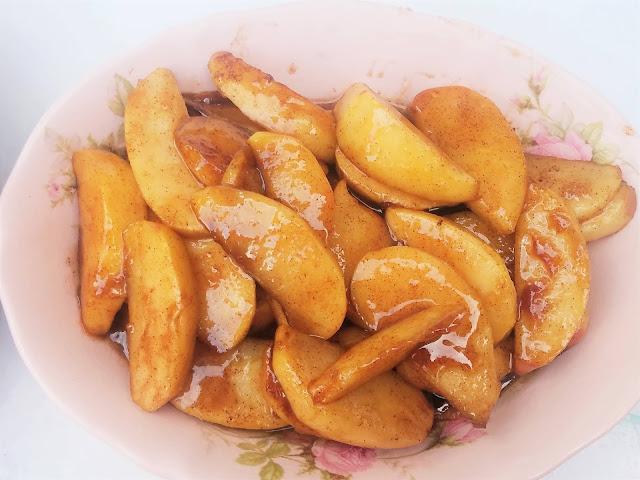 Country Fried cinnamon sugar glazed warm apples