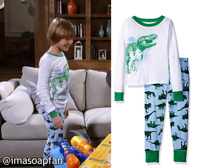 Jake Spencer, Hudson West, White, Green, and Blue Dinosaur Print Pajamas, The Children's Place, GH, General Hospital