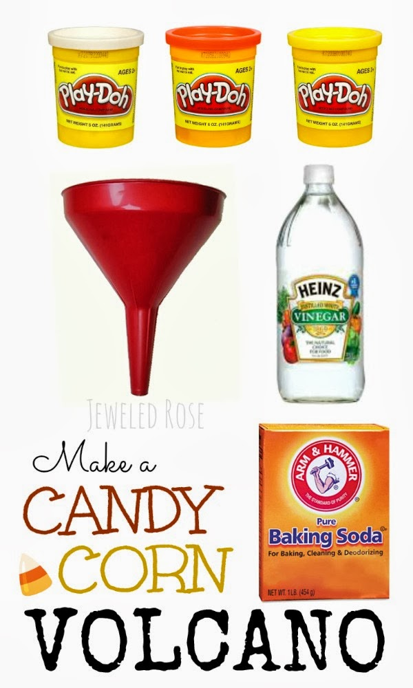 Make a candy corn volcano- a super fun Fall Science activity for kids!