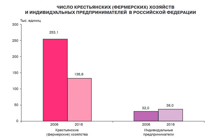 Число крестьянских (Фермерских) хозяйств и индивидуальных предпринимателей в Российской Федерации