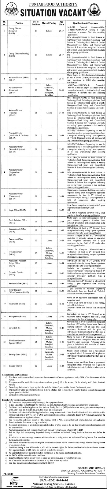 computer operator jobs in punjab food authority Lahore 22 may 2017