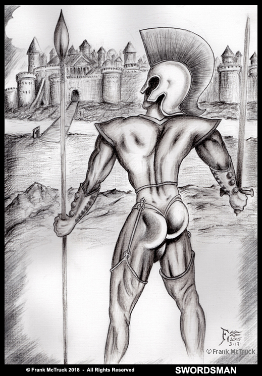 Frank McTruck 'Swordsman Warrior' pencil and ink wash drawing