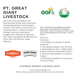 Lowongan Kerja Lampung Terbaru di PT. Great Giant Live Stoke Bandar Lampung Terbaru Februari 2018