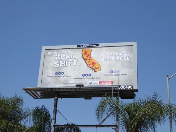 CEA Earthquake insurance billboard