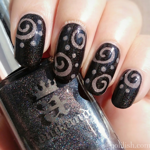 Spiral nail design with piCture pOlish 'Merge' and A-England 'Bridal Veil', by polilish
