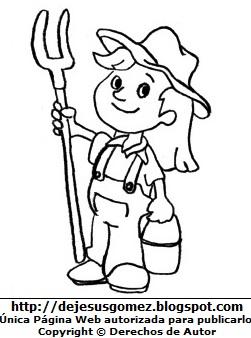 Imagen de una Campesina para colorear pintar imprimir, hecha para niños (Campesina mujer con su rastrillo). Dibujo hecho por Jesus Gómez