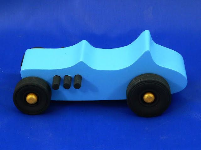 Left Side - Wooden Toy Car - Hot Rod Freaky Ford - 27 T Bucket - MDF - Blue - Black - Gold