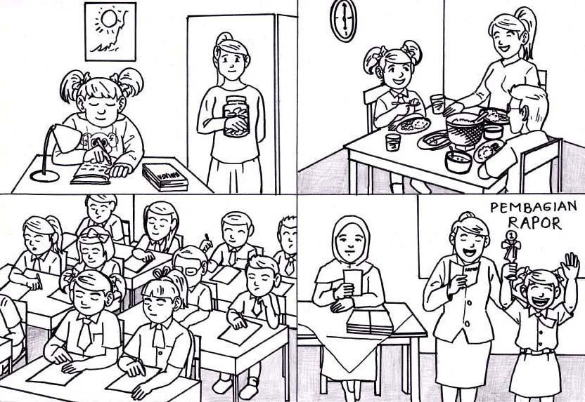 Gambar Animasi Anak Belajar Di Sekolah