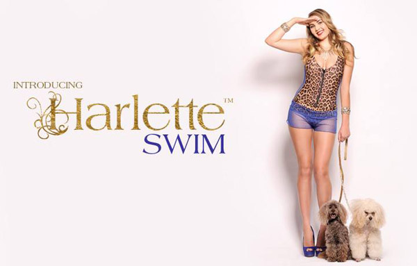 Promotional flyer - Harlette SWIM leopard print with cobalt blue mesh panels and bikini shorts, photographed by Kent Johnson.