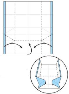 Bước 6: Gấp 3 cạnh giấy vào trong như hình vẽ
