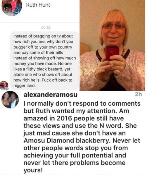 Nigerian fashion designer reacts to racist message he got from US woman