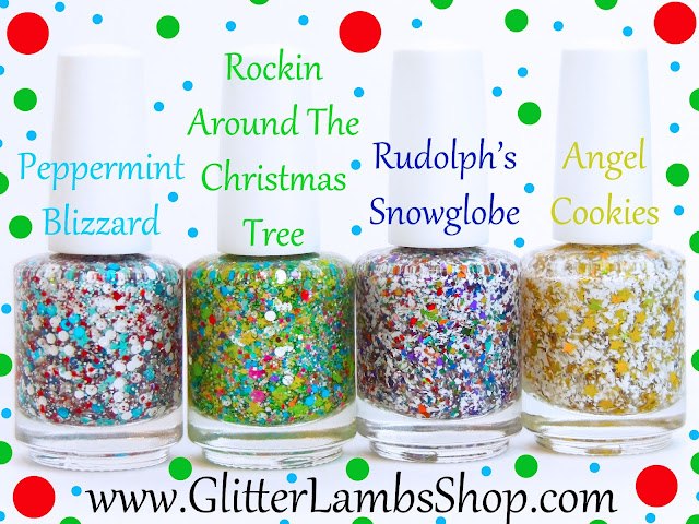 Christmas custom handmade indie lacquer. Peppermint blizzard, Rockin around the Christmas tree, Rudolph's Snowglobe, Angel Cookies.