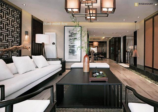 phòng khách căn hộ Risemount apartment Đà Nẵng