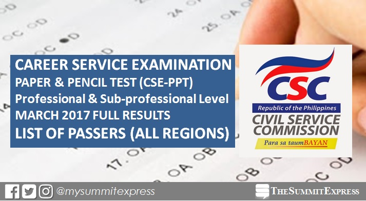 Civil service exam results March 12, 2017 CSE-PPT