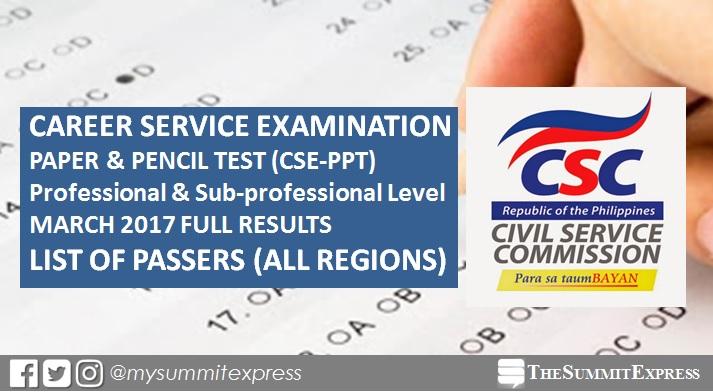Civil service exam results March 12, 2017 CSE-PPT