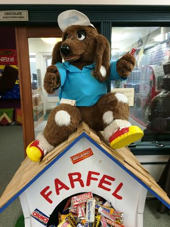 Farfel the Mascot of Nestle at the Chocolate Experience Museum in Burlington, WI