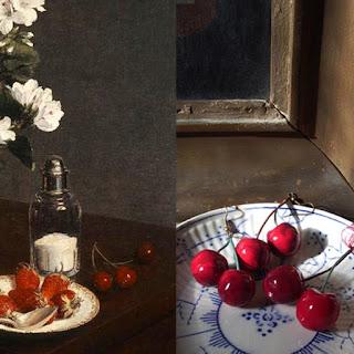 """Fantin-Latour : Nature morte avec fruits et fleurs, 1866, détail (National Gallery of Art) - Delphine R2M/La Fille du Consul : Boucles d'oreilles cerises - """"Après Fantin-Latour"""", Exposition de produits dérivés inspirés par l'univers du peintre Henri Fantin-Latour, Galerie de la Marraine"""