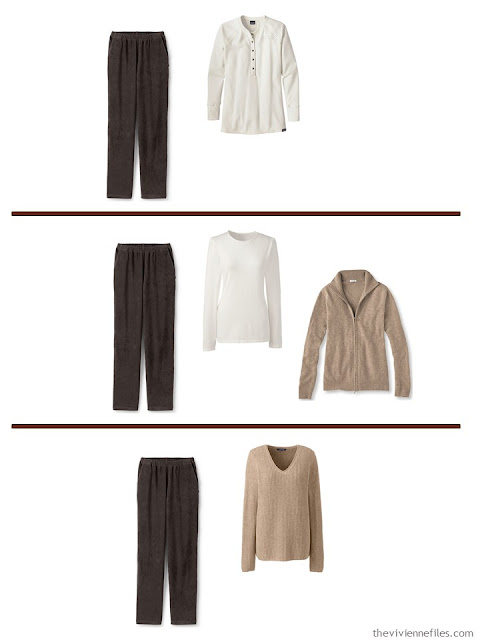 3 ways to wear dark chocolate pants with a A Common Wardrobe in soft, warm colors