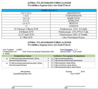 JURNAL PAI Kelas 1 Kurikulum 2013 Revisi 2018 Semester 2