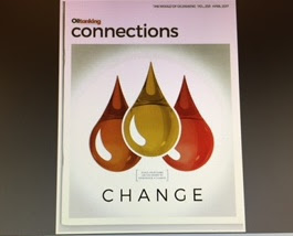 Cover of Connections magazine showing 3 drops of oil