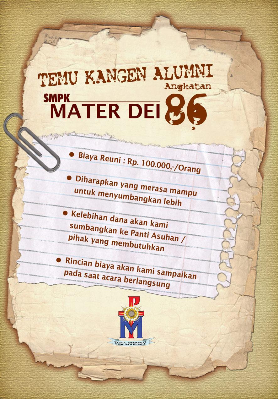 Design Undangan Alumni SMPK Mater Dei Angkatan