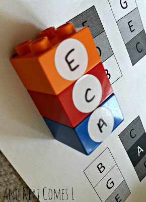 Building music chords with Lego with free printable from And Next Comes L
