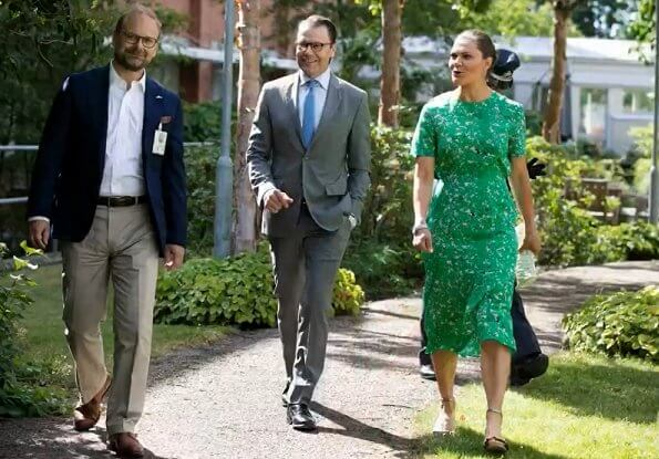 Crown Princess Victoria wore Tiger of Sweden jacenia dress. Princess Victoria wore a new green midi dress by Tiger of Sweden