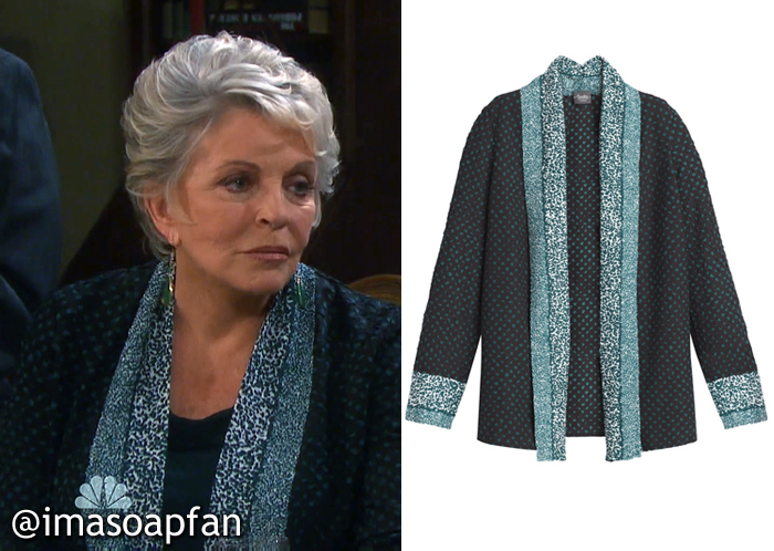 Julie Williams's Blue-Green and Black Printed Jacket - Days of Our Lives, Season 51, Episode 08/31/16