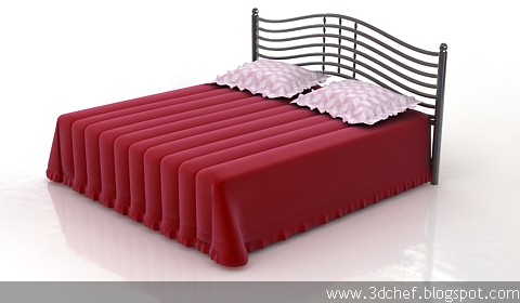 simple bed 3d model free