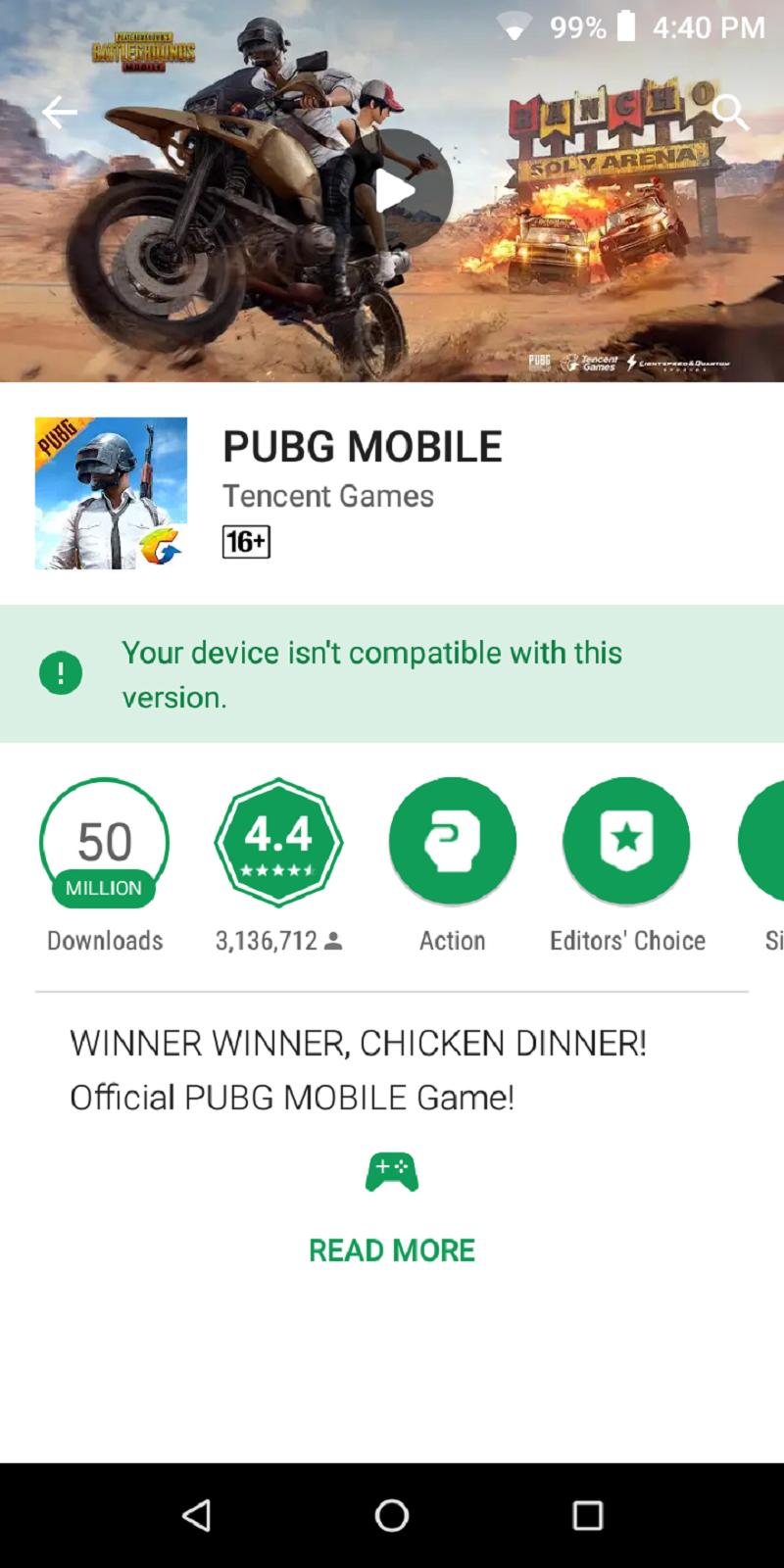 No PUBG for Cherry Mobile Flare P3 Plus