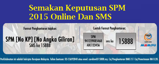 Keputusan SPM 2015 Online SMS