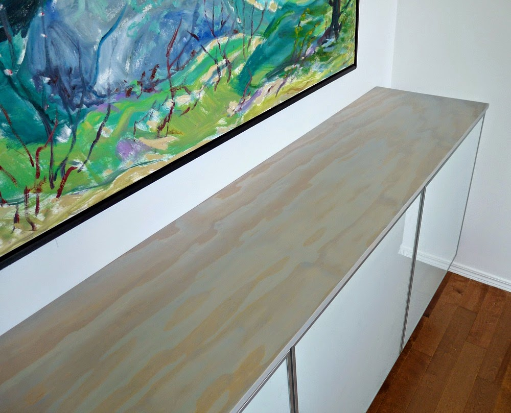 """How to make a floating credenza - or """"fauxdenza - using three Ikea Besta cabinets and plywood // www.danslelakehouse.com"""
