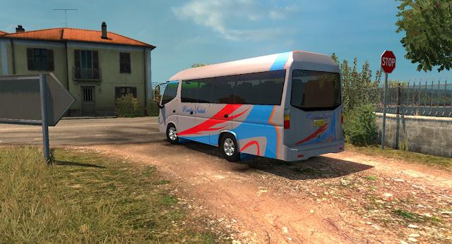 bagian belakang Mod Microbus Dutro ETS2