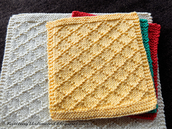 How To Knit Dishcloths Free Patterns : Dishcloth #6: Diamond Brocade - Knitting Unlimited