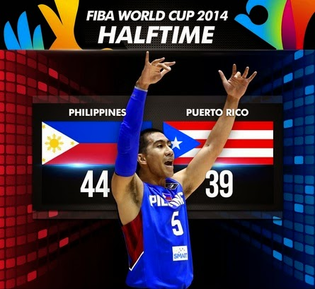 FIBA World Cup Philippines vs Puerto Rico Half-time Score