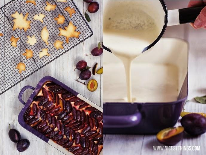 Pflaumen Cheesecake Rezept mit Herbstblätter Cookies