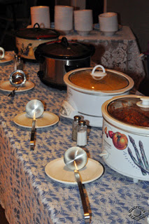 Cramer Imaging's professional quality still life photograph of crock pots with soup sitting on table part of soup bar in Idaho Falls, Bonneville, Idaho