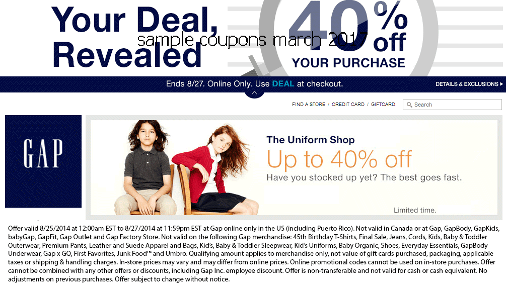 Gap discount coupon