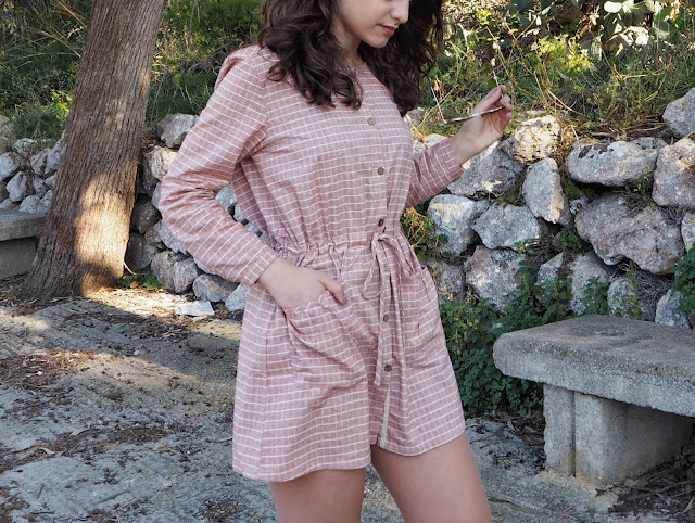 pink buttom up dress zaful, zaful dress, spring fashion