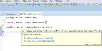 Eclipse - add unimplemented methods