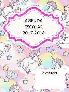 Agenda escolar versión unicornios 2017-2018 para imprimir