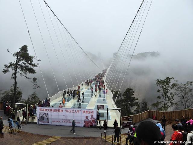Zhangjiajie Grand Canyon Glass bridge in rain and fogs