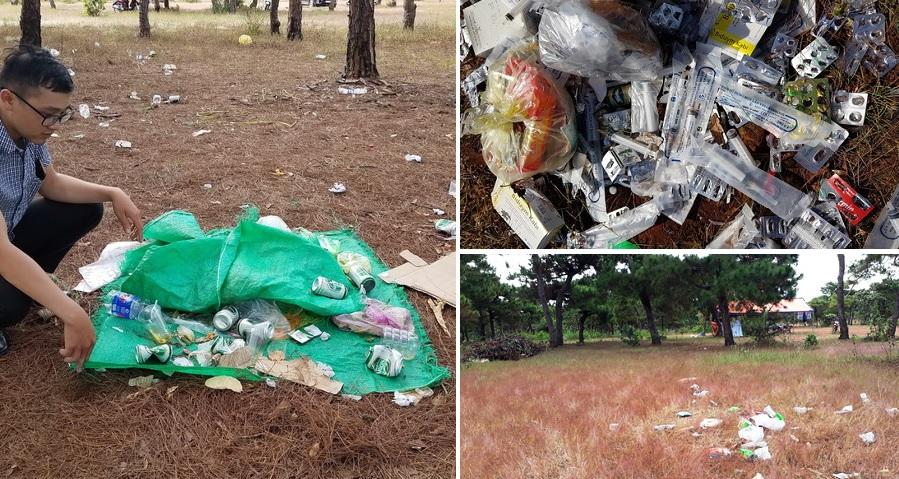 """Gia Lai: Đồi cỏ hồng mộng mơ chìm ngập trong... """"rác thải và kim tiêm"""""""