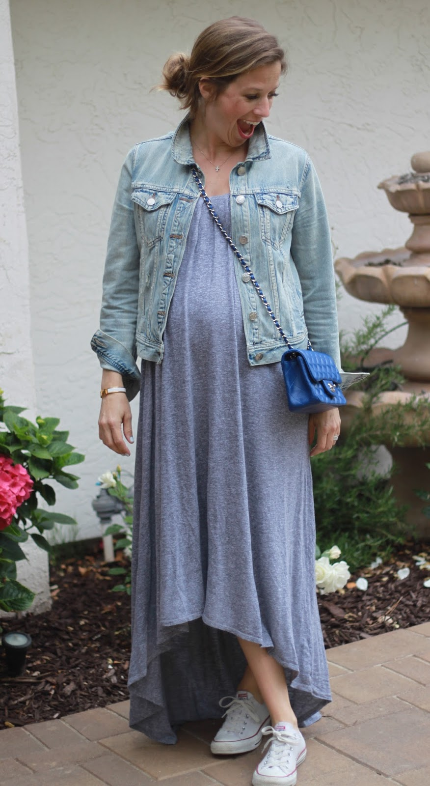 maternity maxi dress and denim jacket