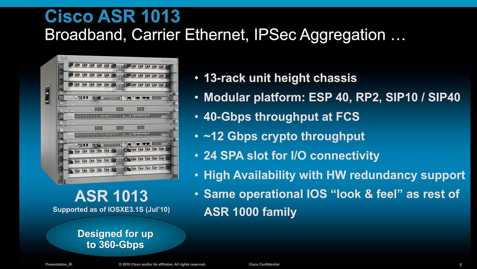 The Cisco ASR 1013 Router offers highly integrated services for enterprise  and service provider networks. With 100 Gbps total system bandwidth and 4-  to ...