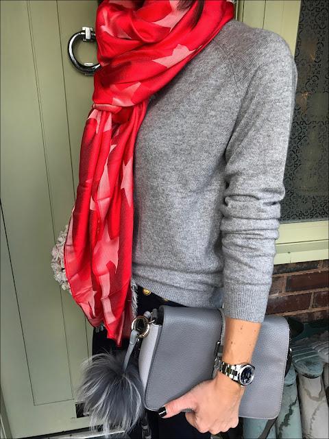 My Midlife Fashion, Village England Fulmer bag, H&M Cashmere Blend Crew Neck Jumper, J Crew Sailor Pants, Golden Goose Superstar trainers, stella mccartney silk and modal blend jacquard star scarf