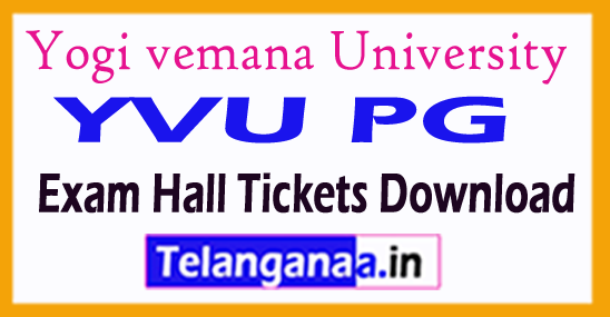 Yogi vemana University YVU PG Exam Hall Tickets Download